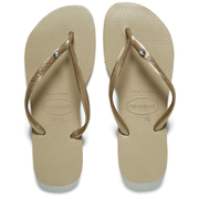 Havaianas Women's Slim Crystal Glamour Sw Flip Flops - Sand Grey/Soft Golden
