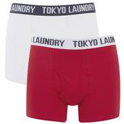 Tokyo Laundry Men's Tasmania 2 Pack Boxers - Optic White/Tokyo Red