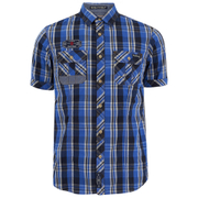Tokyo Laundry Men's Lozano Check Short Sleeve Shirt - Olympian Blue