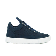 Filling Pieces Tone Perforated Low Top Suede Trainers - Navy