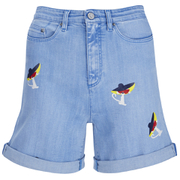 Karl Lagerfeld Women's Choupette Printed Denim Shorts - Light Blue