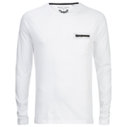 Brave Soul Men's Wolfgang Zip Pocket Long Sleeve Top - White