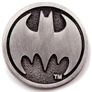 DC Comics Batman Logo Metal Round Silver Pin