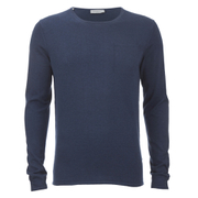 Selected Homme Men's Token Crew Neck Jumper - Blue Depths