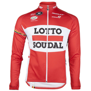 Lotto Soudal Long Sleeve Long Zip Jersey 2016 - Red/White