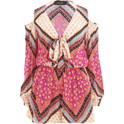 "MINKPINK Women's ""African Trance"" Tie Bust Playsuit With Shoulder Cut Out Detail - Multi"