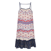 "MINKPINK Women's ""Western Wonder"" Print Spliced Drop Waist Dress - Cream Multi"