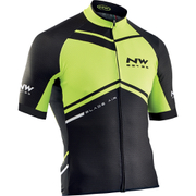 Northwave Blade Air Full Zip Short Sleeve Jersey - Yellow Fluo/Black