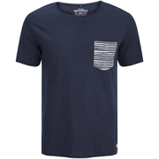 Jack & Jones Men's Originals Raw Stripe Pocket T-Shirt - Dark Blue Denim