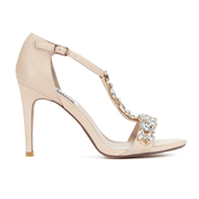 Dune Womens Makeeta Embellished Leather Heeled Sandals - Nude