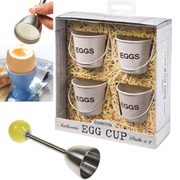 Eddingtons Breakfast Bundle - Cream Egg Buckets (Set of 4) and Egg Clacker