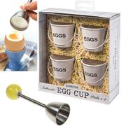 Eddingtons Breakfast Bundle - Cream Egg Buckets (Set of 4) and Egg Clacker