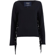 ONLY Women's Madge Long Sleeve O-Neck Tassel Sweatshirt - Black