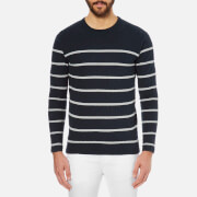 Selected Homme Men's James Striped Crew Neck Jumper - Dark Sapphire