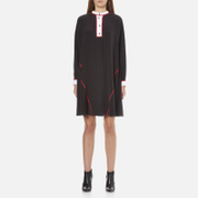 KENZO Women's Flare Dress with Piping and Buttons - Black
