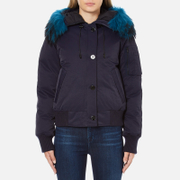KENZO Women's Removable Navy Fur Lined Short Parka - Midnight Navy