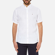 Tommy Hilfiger Men's Solid Linen Short Sleeve Shirt - Classic White