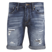 Jack & Jones Men's Rick Original Distressed Denim Shorts - Mid Wash