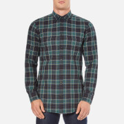 BOSS Orange Men's Elonge Check Long Sleeve Shirt - Dark Blue