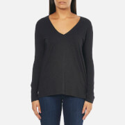 Polo Ralph Lauren Women's Long Sleeve V Neck T-Shirt - Boot Black Heather