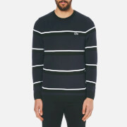 Lacoste Men's Crew Neck 'Made In France' Thin Stripe Sweatshirt - Black/Navy Blue/White