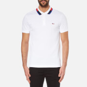 Lacoste Men's Short Sleeve Polo Shirt With Collar Detail - White