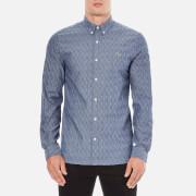 Lacoste L!ve Men's Long Sleeve Oxford Shirt - Dark Indigo/Flour