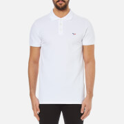 Maison Kitsuné Men's Tricolor Fox Patch Polo Shirt - White