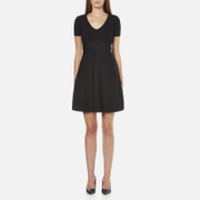 T by Alexander Wang Women's Rayon Rib Knitted Short Sleeve Flared Dress - Black