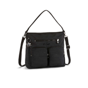 Kipling Women's Tasmo Double Pocket Medium Shoulder Bag - Dazzling Black