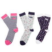 Superdry Women's Ditsy Triple Pack Socks - Pink/Grey/Navy