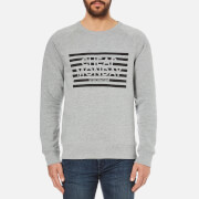 Cheap Monday Men's Rules Striped Logo Sweatshirt - Grey Melange
