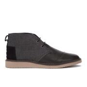 TOMS Men's Mateo Leather/Herringbone Chukka Boots - Black