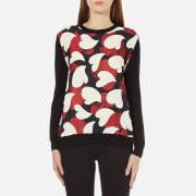 Boutique Moschino Women's Silk Heart Print Front Merion Jumper - Multi