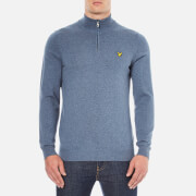 Lyle & Scott Men's 1/4 Zip Cotton Merino Jumper - Niagara Blue