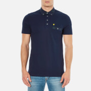 Lyle & Scott Men's Short Sleeve Check Woven Collar Polo Shirt - Navy
