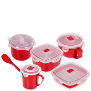 Tower Microwave 5 Piece Set - Red