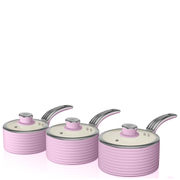 Swan Retro Saucepan Set - Pink (3 Piece)