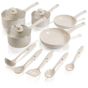 Swan Pan Set with Utensil Set - Almond (5 Piece)