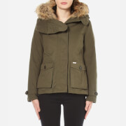 Woolrich Women's Scarlett Short Coat with Detachable Inner and Fur Hood - Military Olive