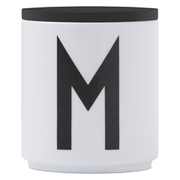 Design Letters Wooden Lid For Porcelain Cup - Black