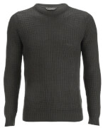 Kensington Eastside Men's Auldhome Textured Crew Neck Jumper - Charcoal
