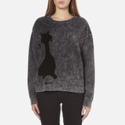 Marc Jacobs Women's Long Sleeve Crew Neck Cat Sweatshirt - Grey
