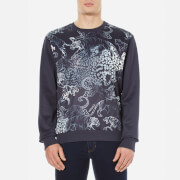 Versace Jeans Men's Printed Crew Neck Sweatshirt - Blue