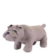 Leather British Bulldog Footstool - Grey