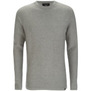 Jack & Jones Men's Core Wind Ribbed Jumper - Light Grey Melange