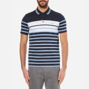 BOSS Green Men's Paule 3 Striped Polo Shirt - Navy