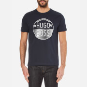 BOSS Green Men's Large Logo Crew Neck T-Shirt - Navy