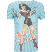 DC Comics Men's Bombshell Wonder Women T-Shirt - Blue