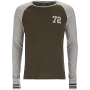 Brave Soul Men's Granite Raglan Long Sleeve Top - Khaki/Grey Marl